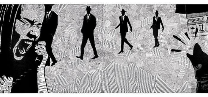 """Grafika Tomka Barczyka """"Jak zabić psa sąsiada"""", 2012, linoryt, 65x190 cm (z wystawy XI QDiLP w sali głównej)."""